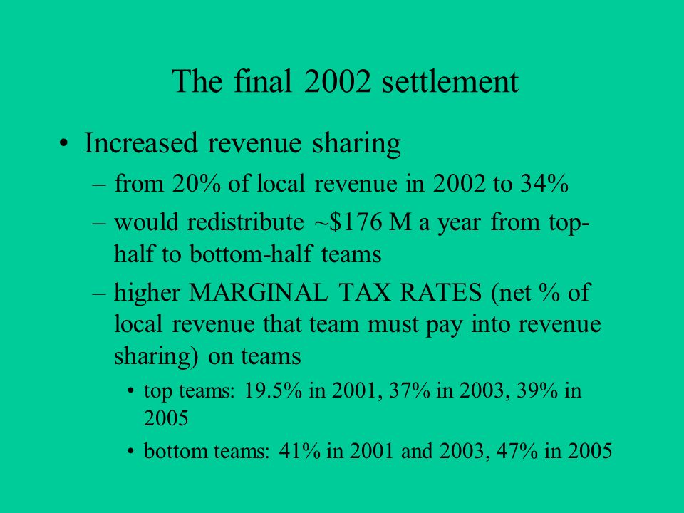 The final 2002 settlement Increased revenue sharing –from 20% of local revenue in 2002 to 34% –would redistribute ~$176 M a year from top- half to bottom-half teams –higher MARGINAL TAX RATES (net % of local revenue that team must pay into revenue sharing) on teams top teams: 19.5% in 2001, 37% in 2003, 39% in 2005 bottom teams: 41% in 2001 and 2003, 47% in 2005
