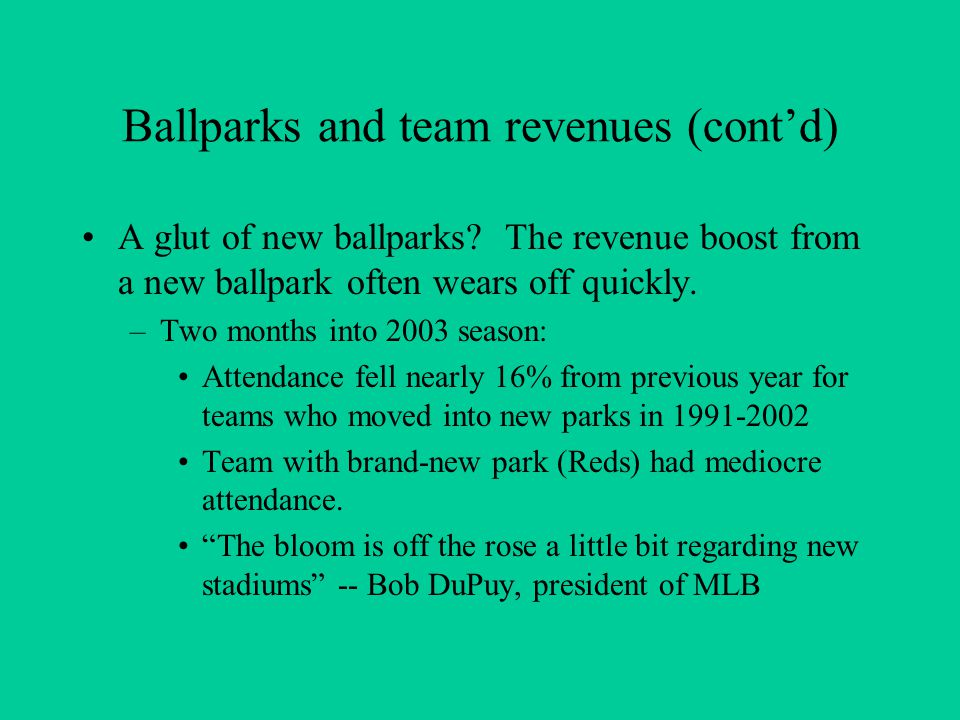 Ballparks and team revenues (cont'd) A glut of new ballparks.