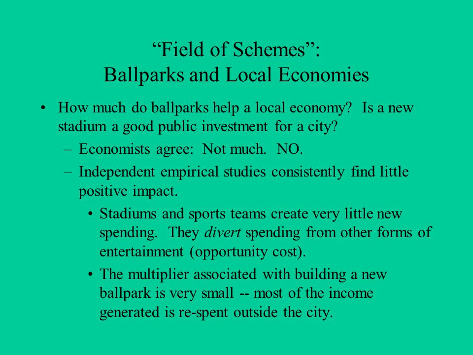 Field of Schemes : Ballparks and Local Economies How much do ballparks help a local economy.