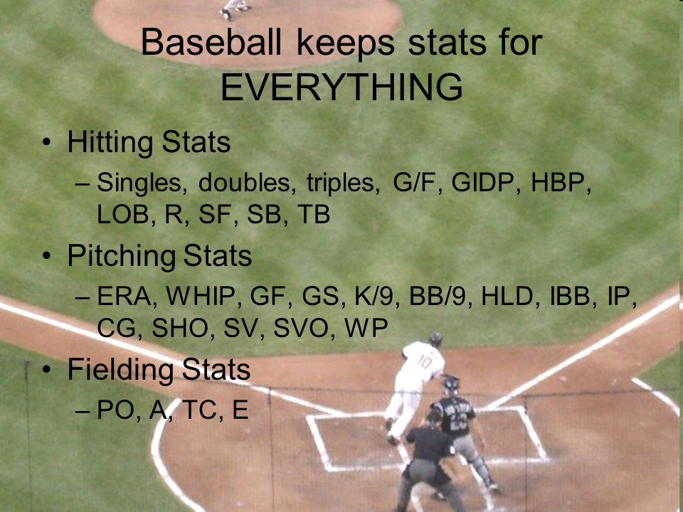Baseball keeps stats for EVERYTHING Hitting Stats –Singles, doubles, triples, G/F, GIDP, HBP, LOB, R, SF, SB, TB Pitching Stats –ERA, WHIP, GF, GS, K/
