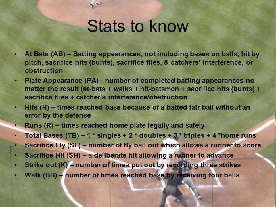 Stats to know Innings Pitched (IP) – number of outs recorded pitching / 3Innings Pitched (IP) – number of outs recorded pitching / 3 Earned Run Average (ERA) – earned runs * 9 / innings pitchedEarned Run Average (ERA) – earned runs * 9 / innings pitched Complete Game (CG) – # of times a pitcher was the only pitcher for his teamComplete Game (CG) – # of times a pitcher was the only pitcher for his team Shutout (SHO) - # of complete games allowing zero runsShutout (SHO) - # of complete games allowing zero runs Save (Sv)Save (Sv) Win (W) - number of games where pitcher was pitching while his team took the lead and went on to winWin (W) - number of games where pitcher was pitching while his team took the lead and went on to win Walks + Hits per Inning Pitched (WHIP)Walks + Hits per Inning Pitched (WHIP)