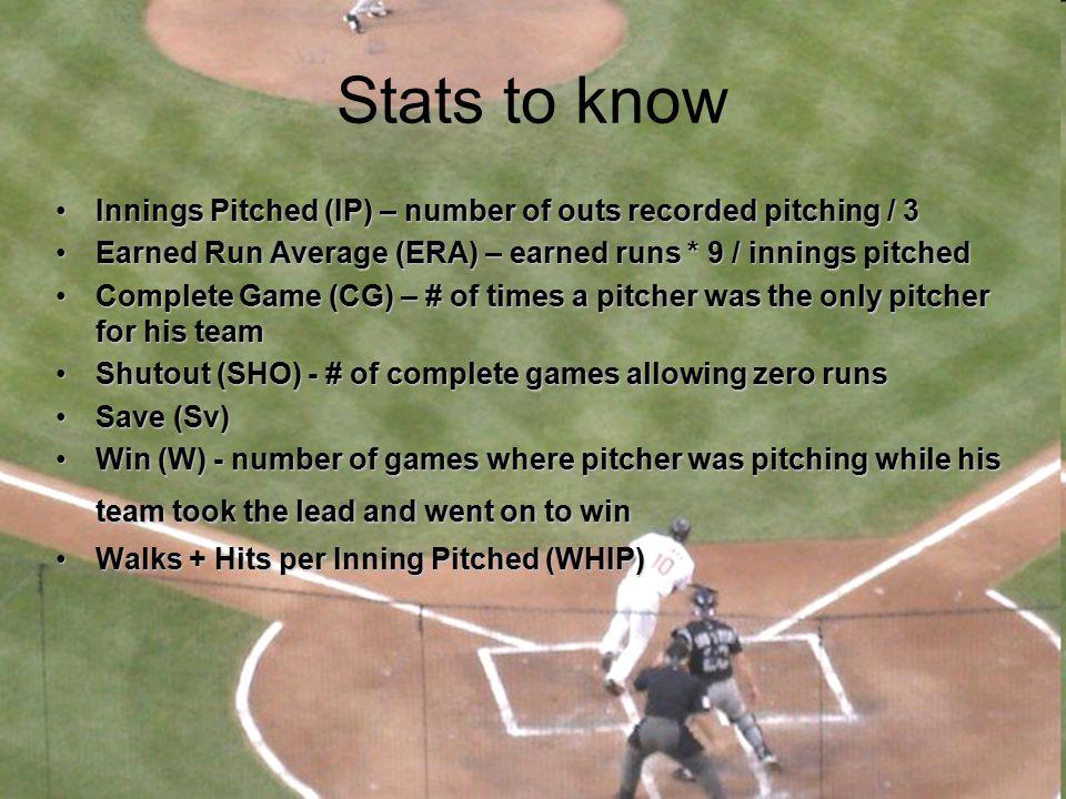 Baseball keeps stats for EVERYTHING Hitting Stats –Singles, doubles, triples, G/F, GIDP, HBP, LOB, R, SF, SB, TB Pitching Stats –ERA, WHIP, GF, GS, K/9, BB/9, HLD, IBB, IP, CG, SHO, SV, SVO, WP Fielding Stats –PO, A, TC, E