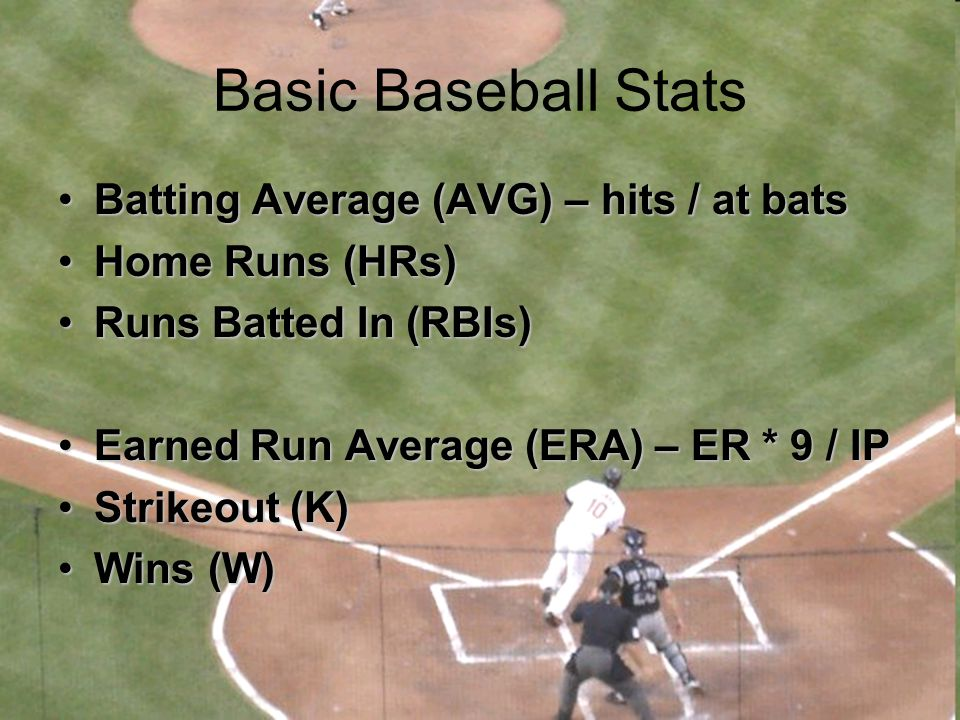 Basic Baseball Stats Batting Average (AVG) – hits / at batsBatting Average (AVG) – hits / at bats Home Runs (HRs)Home Runs (HRs) Runs Batted In (RBIs)
