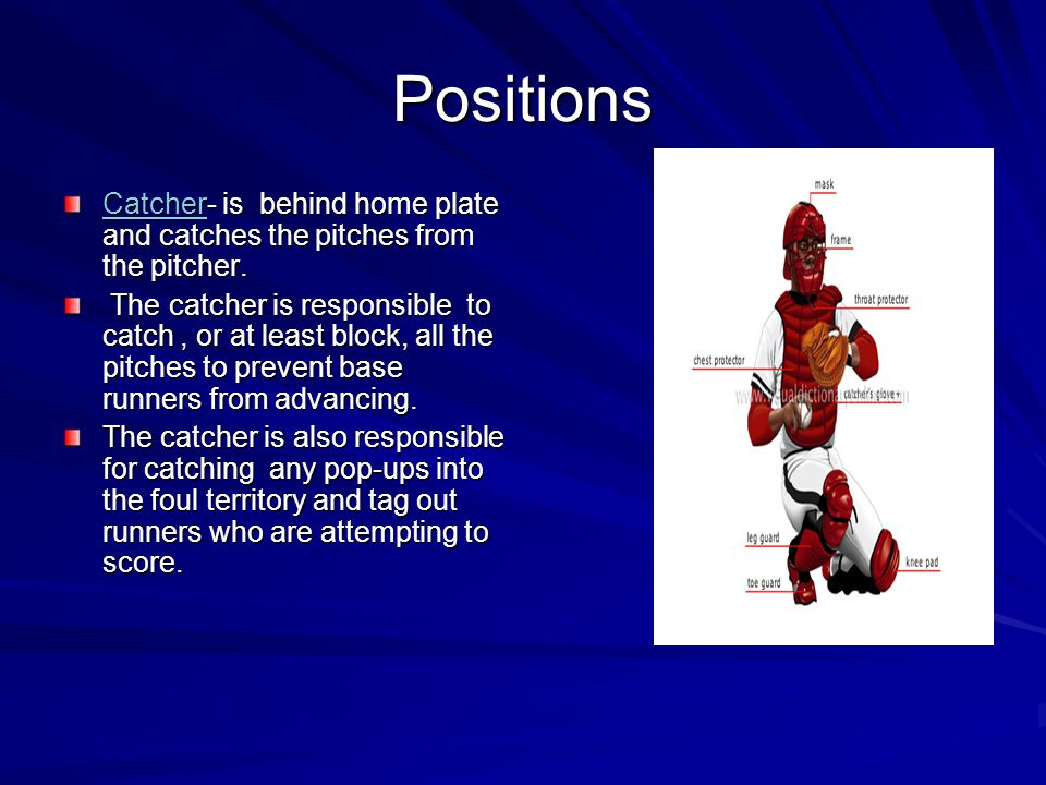 Positions Pitcher This is the number 1 position The pitchers roll is to pitch the ball to each batter. This position also is responsible for the middl