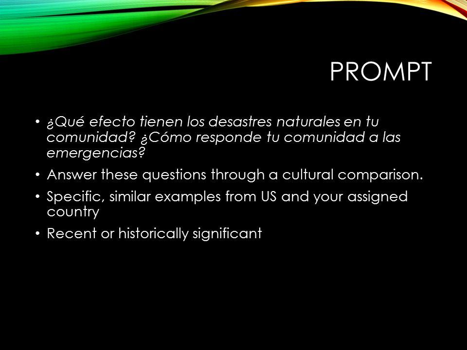 PROMPT ¿Qué efecto tienen los desastres naturales en tu comunidad.