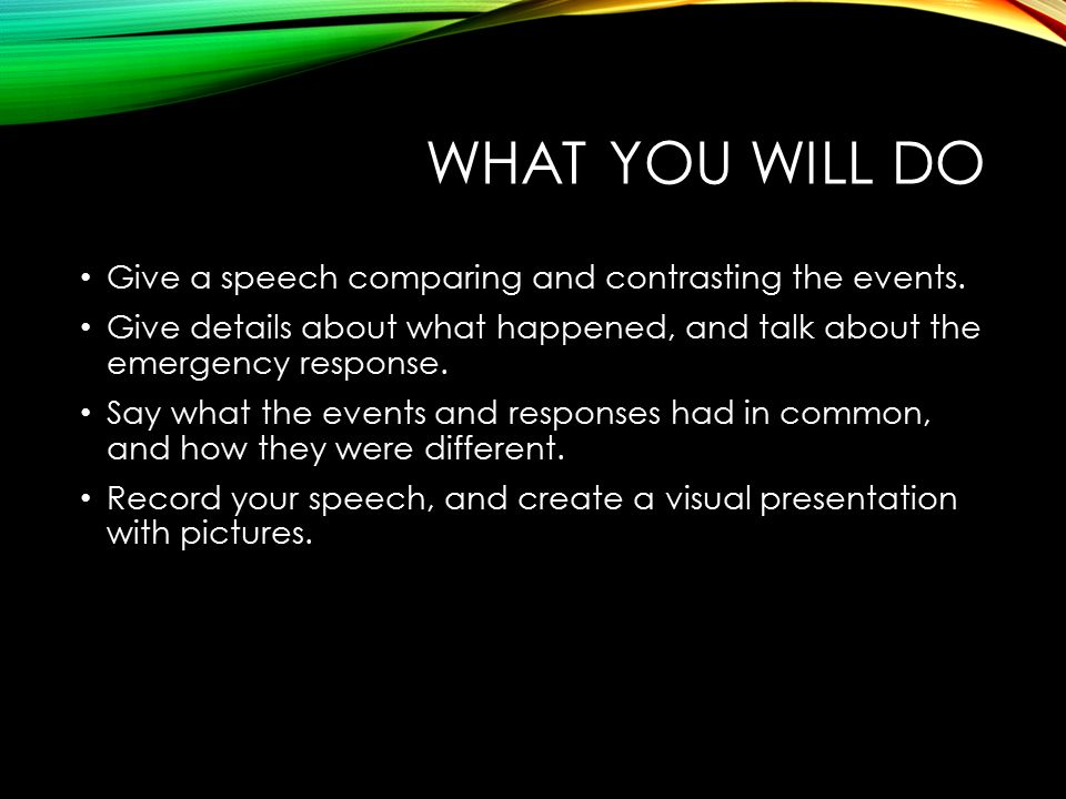WHAT YOU WILL DO Give a speech comparing and contrasting the events.
