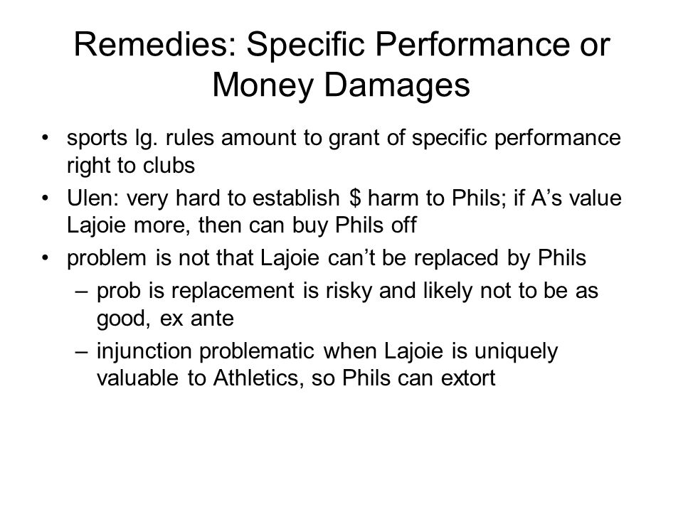 Remedies: Specific Performance or Money Damages sports lg.