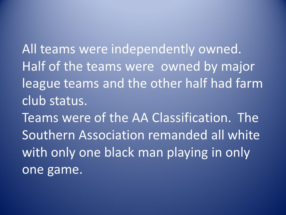 All teams were independently owned.