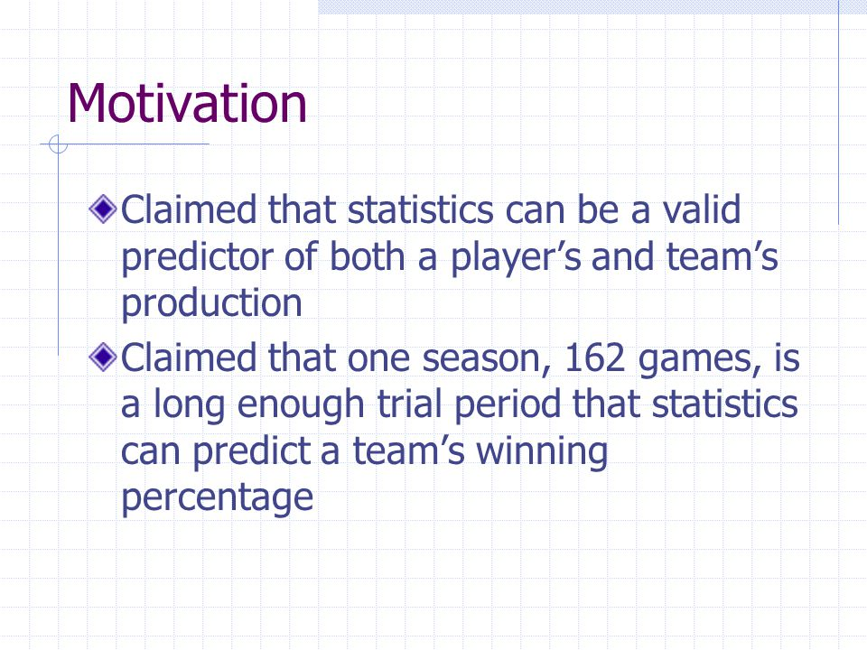 Classification Testing Classify teams into 3 groups Division winners (>.590) Winning teams (.500<x<.589) Losing teams (<.500) Same process as above