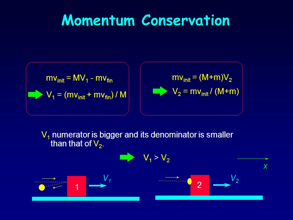 Momentum Conservation l Since the total external force in the x-direction is zero, momentum is conserved along the x-axis. l In both cases the initial