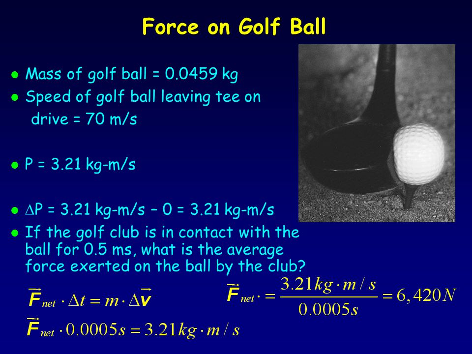 Force on Golf Ball l Mass of golf ball = 0.0459 kg l Speed of golf ball leaving tee on drive = 70 m/s l P = 3.21 kg-m/s l  P = 3.21 kg-m/s – 0 = 3.21 kg-m/s l If the golf club is in contact with the ball for 0.5 ms, what is the average force exerted on the ball by the club?