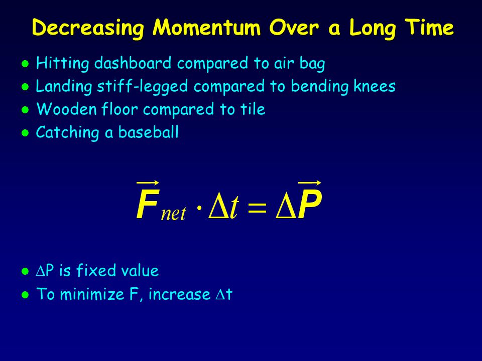 Force on Golf Ball l Mass of golf ball = 0.0459 kg l Speed of golf ball leaving tee on drive = 70 m/s l P = 3.21 kg-m/s l  P = 3.21 kg-m/s – 0 = 3.21