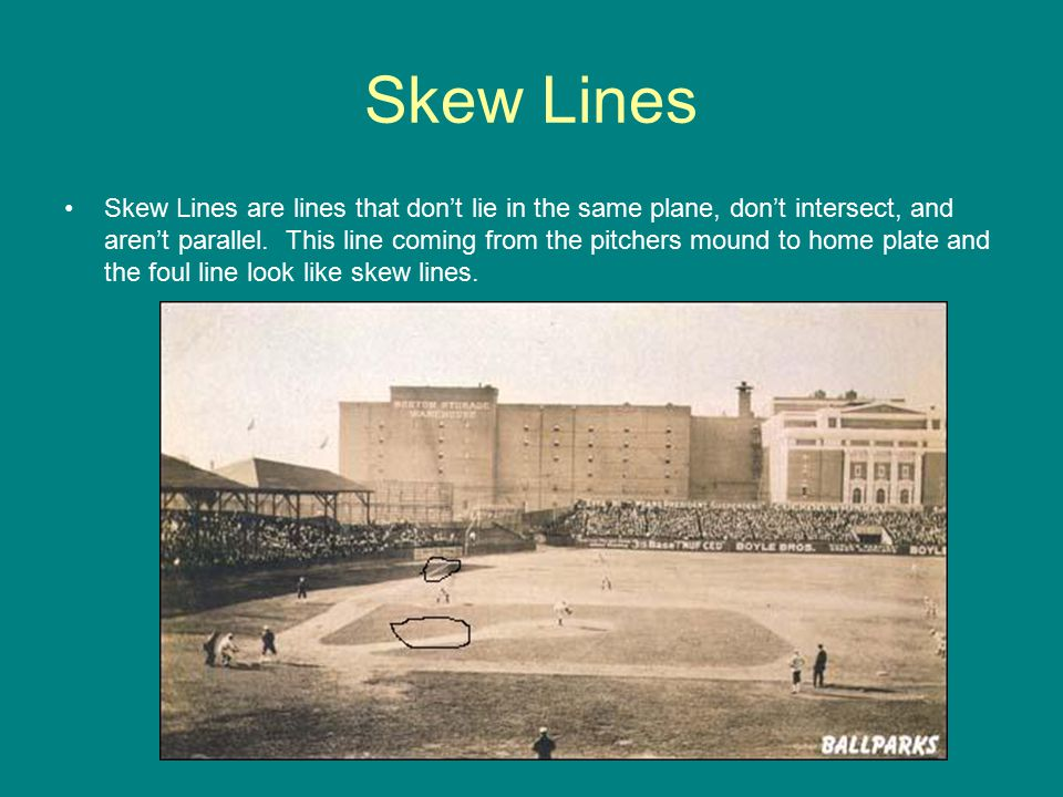 Skew Lines Skew Lines are lines that don't lie in the same plane, don't intersect, and aren't parallel.