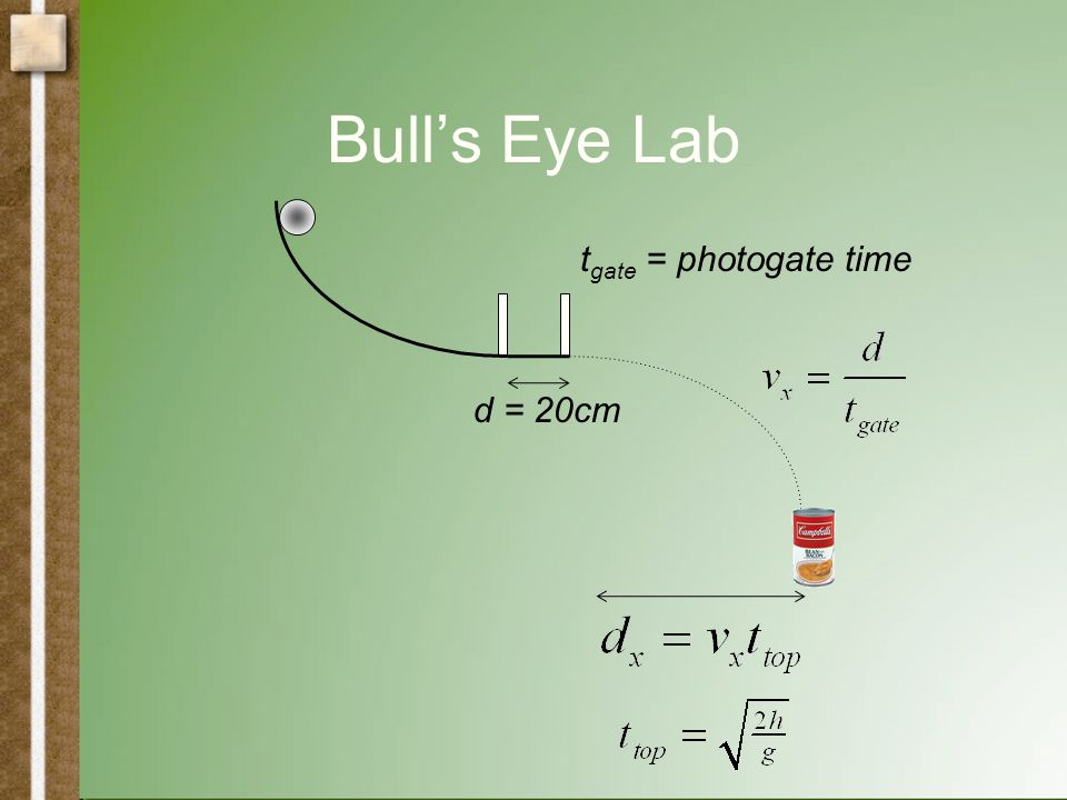 Bull's Eye Lab t gate = photogate time d = 20cm