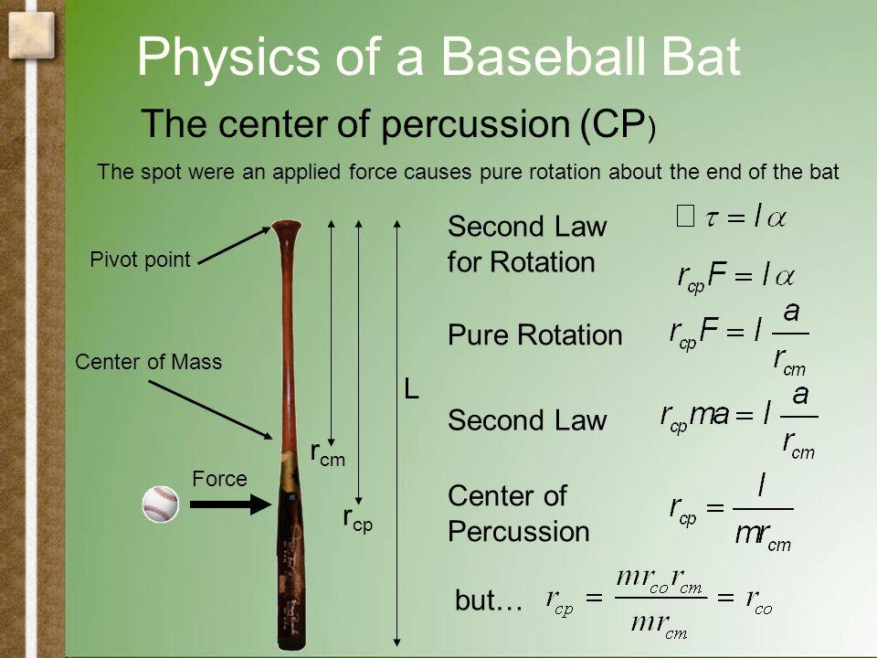 Physics of a Baseball Bat Physical Pendulum Simple Pendulum The rotational inertia (I) calculation