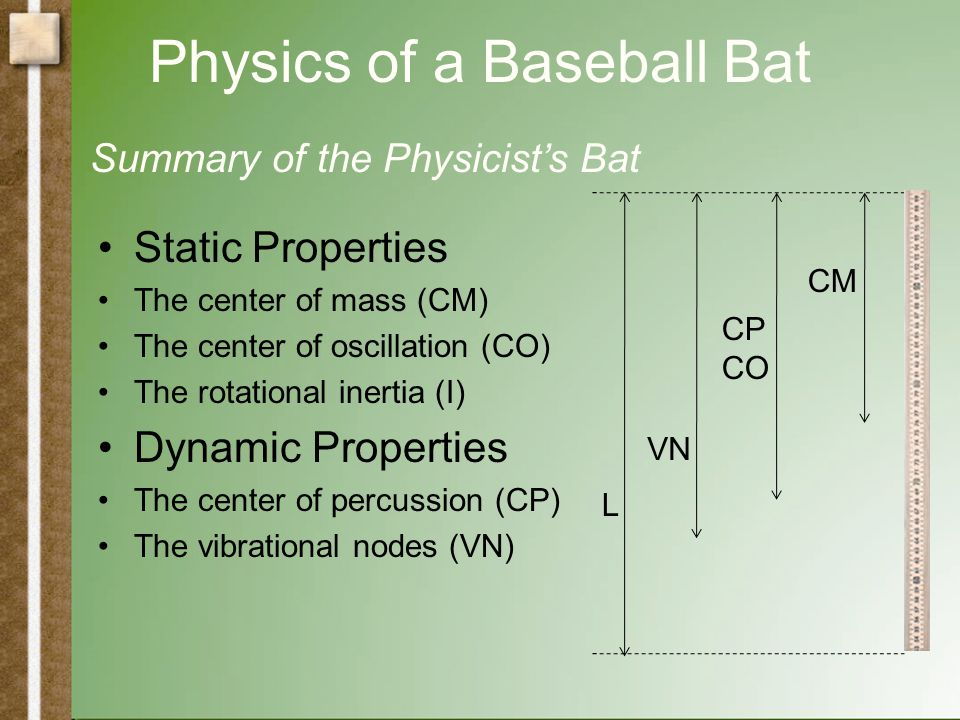 Physics of a Baseball Bat The vibrational nodes (VN) The VN for the meter stick is ¾ of the way down. The VN for the bat is a bit more than ¾ of the w