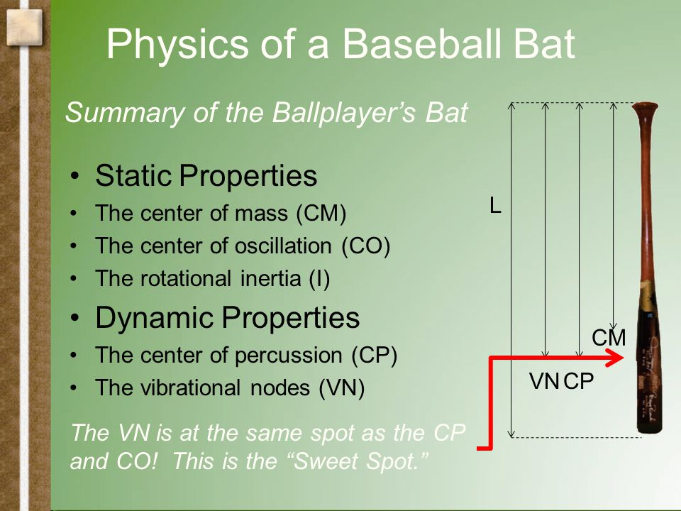 Physics of a Baseball Bat Static Properties The center of mass (CM) The center of oscillation (CO) The rotational inertia (I) Dynamic Properties The center of percussion (CP) The vibrational nodes (VN) L VN CP CO CM Summary of the Physicist's Bat