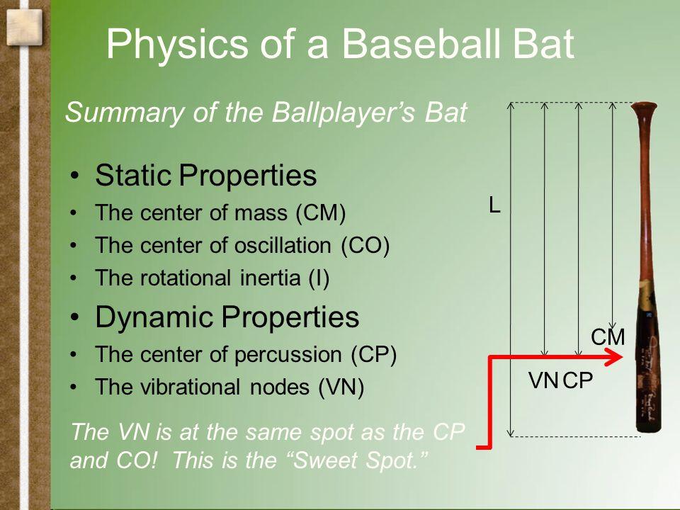 Physics of a Baseball Bat Static Properties The center of mass (CM) The center of oscillation (CO) The rotational inertia (I) Dynamic Properties The c