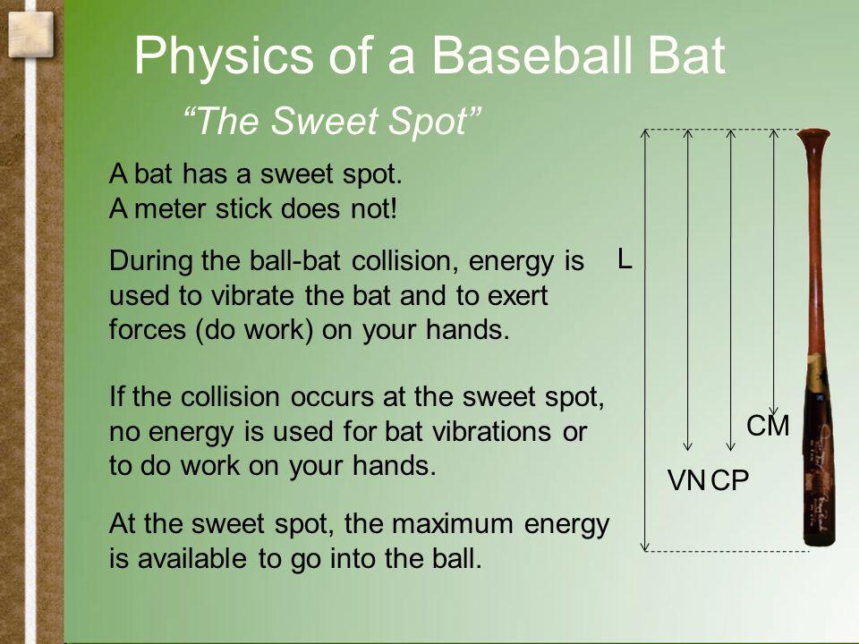 Physics of a Baseball Bat L VNCP C O CM Static Properties The center of mass (CM) The center of oscillation (CO) The rotational inertia (I) Dynamic Pr