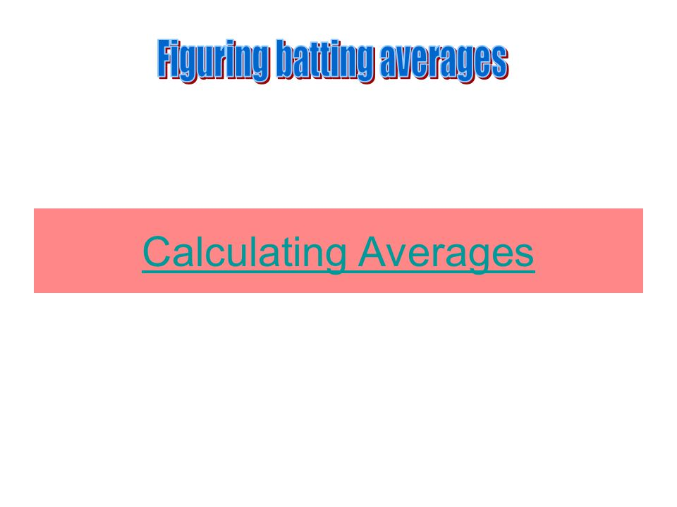 Calculating Averages
