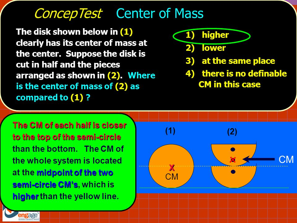 ConcepTest Center of Mass (1) X X CM (2) The CM of each half is closer to the top of the semi-circle midpoint of the two semi-circle CM's higher The CM of each half is closer to the top of the semi-circle than the bottom.