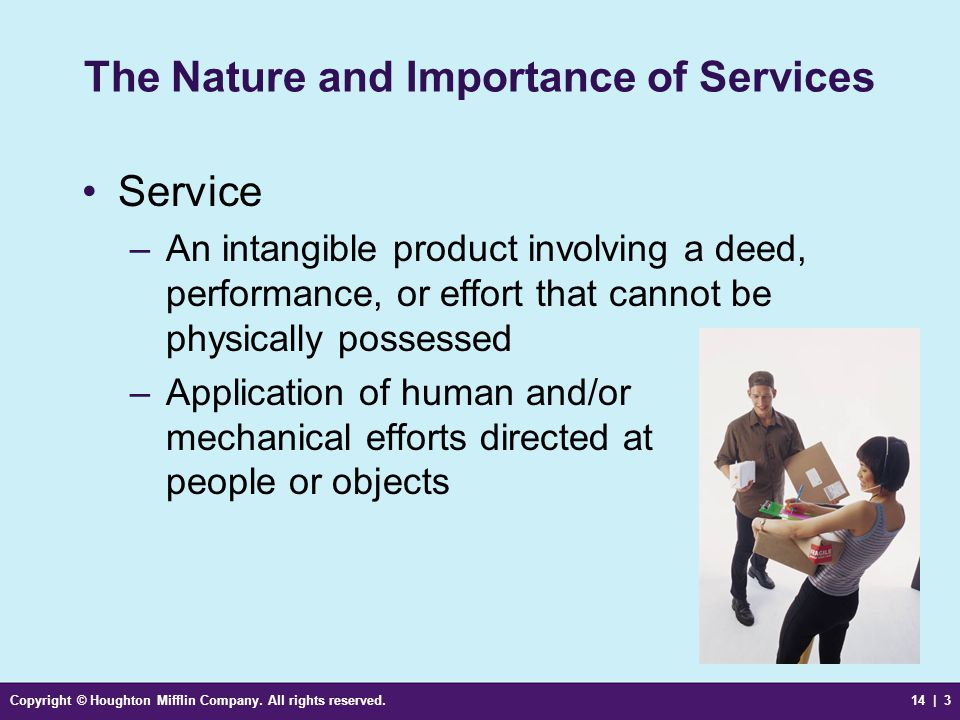 Copyright © Houghton Mifflin Company. All rights reserved.14 | 3 The Nature and Importance of Services Service –An intangible product involving a deed