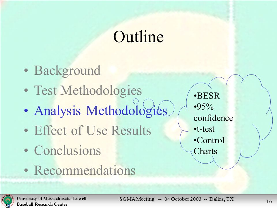 SGMA Meeting -- 04 October 2003 -- Dallas, TX University of Massachusetts Lowell Baseball Research Center 16 Outline Background Test Methodologies Analysis Methodologies Effect of Use Results Conclusions Recommendations BESR 95% confidence t-test Control Charts
