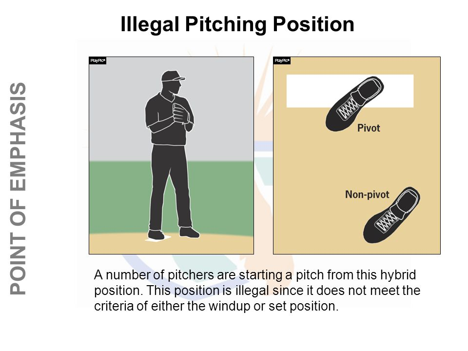 © REFEREE ENTERPISES INC. 2013 POINT OF EMPHASIS Illegal Pitching Position A number of pitchers are starting a pitch from this hybrid position. This p