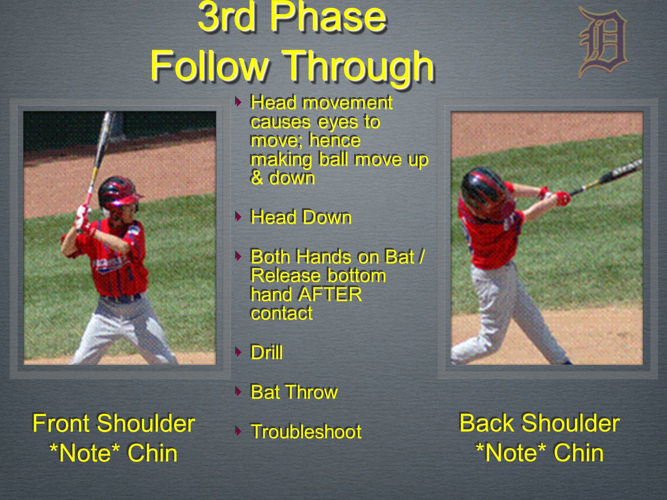 Front Shoulder *Note* Chin Front Shoulder *Note* Chin 3rd Phase Follow Through Back Shoulder *Note* Chin Back Shoulder *Note* Chin ‣ Head movement causes eyes to move; hence making ball move up & down ‣ Head Down ‣ Both Hands on Bat / Release bottom hand AFTER contact ‣ Drill ‣ Bat Throw ‣ Troubleshoot ‣ Head movement causes eyes to move; hence making ball move up & down ‣ Head Down ‣ Both Hands on Bat / Release bottom hand AFTER contact ‣ Drill ‣ Bat Throw ‣ Troubleshoot