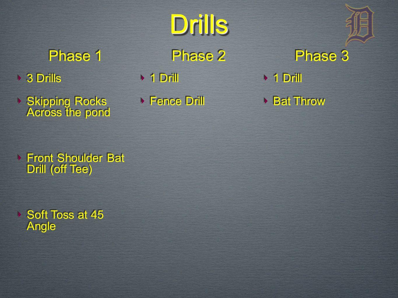 DrillsDrills ‣ 3 Drills ‣ Skipping Rocks Across the pond ‣ Front Shoulder Bat Drill (off Tee) ‣ Soft Toss at 45 Angle ‣ 3 Drills ‣ Skipping Rocks Across the pond ‣ Front Shoulder Bat Drill (off Tee) ‣ Soft Toss at 45 Angle ‣ 1 Drill ‣ Fence Drill ‣ 1 Drill ‣ Fence Drill ‣ 1 Drill ‣ Bat Throw ‣ 1 Drill ‣ Bat Throw Phase 1 Phase 2 Phase 3