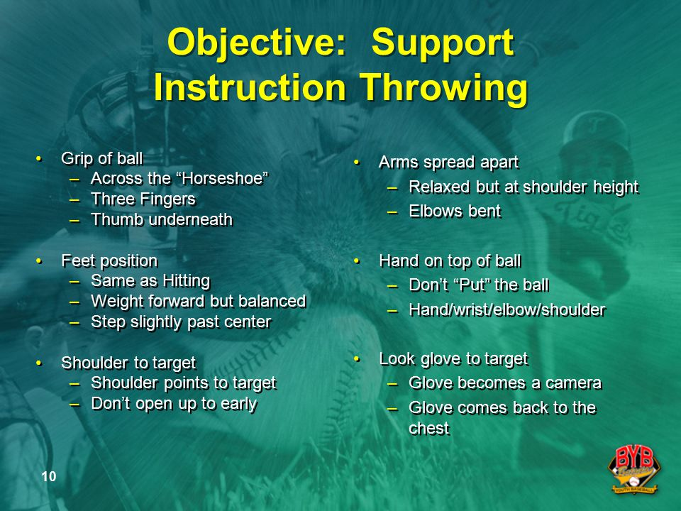 10 Objective: Support Instruction Throwing Grip of ball –Across the Horseshoe –Three Fingers –Thumb underneath Feet position –Same as Hitting –Weight forward but balanced –Step slightly past center Shoulder to target –Shoulder points to target –Don't open up to early Grip of ball –Across the Horseshoe –Three Fingers –Thumb underneath Feet position –Same as Hitting –Weight forward but balanced –Step slightly past center Shoulder to target –Shoulder points to target –Don't open up to early Arms spread apart –Relaxed but at shoulder height –Elbows bent Hand on top of ball –Don't Put the ball –Hand/wrist/elbow/shoulder Look glove to target –Glove becomes a camera –Glove comes back to the chest