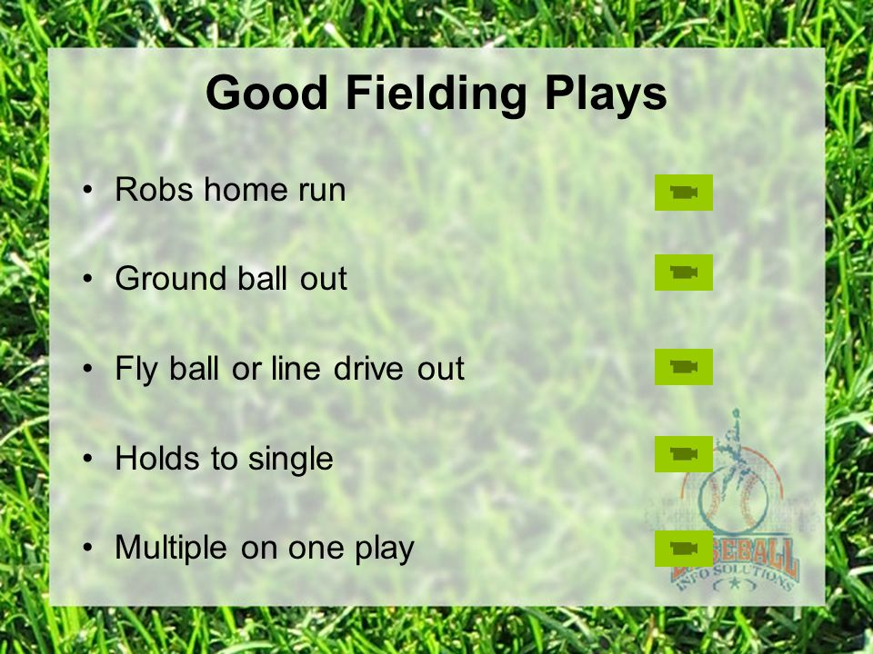 Good Fielding Plays Robs home run Ground ball out Fly ball or line drive out Holds to single Multiple on one play