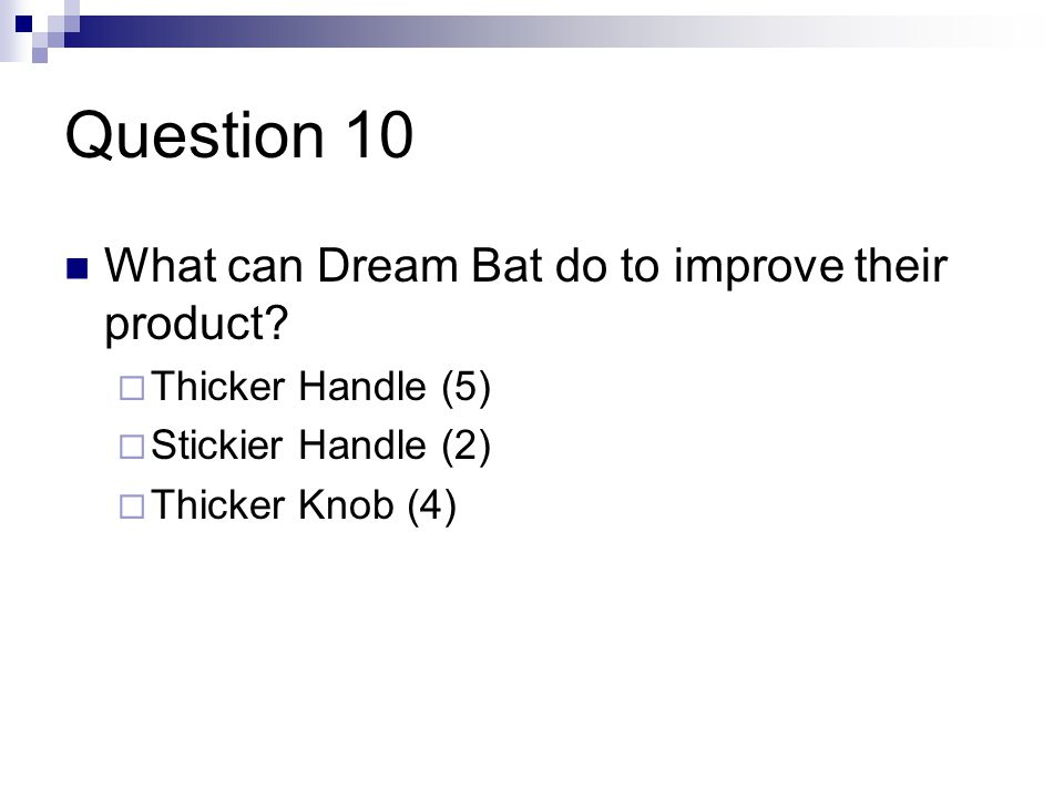 Question 10 What can Dream Bat do to improve their product.