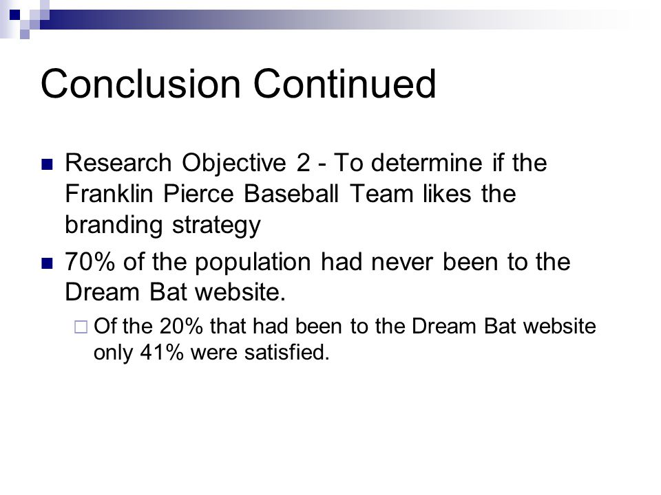 Conclusion Continued Research Objective 2 - To determine if the Franklin Pierce Baseball Team likes the branding strategy 70% of the population had never been to the Dream Bat website.