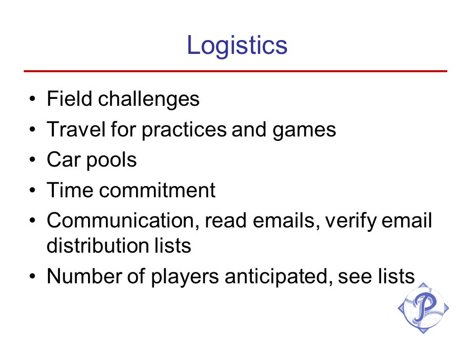 Logistics Field challenges Travel for practices and games Car pools Time commitment Communication, read emails, verify email distribution lists Number of players anticipated, see lists