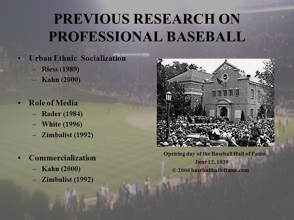 PREVIOUS RESEARCH ON PROFESSIONAL BASEBALL Urban Ethnic Socialization –Riess (1989) –Kahn (2000) Role of Media –Rader (1984) –White (1996) –Zimbalist (1992) Commercialization –Kahn (2000) –Zimbalist (1992) Opening day of the Baseball Hall of Fame June 12, 1939 © 2006 baseballhalloffame.com