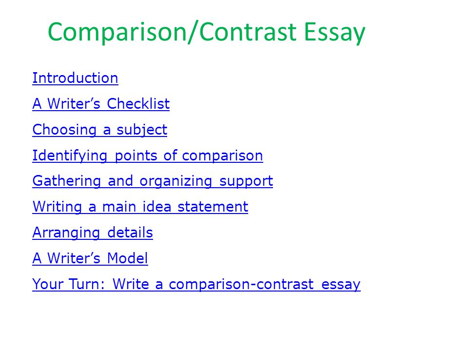 Comparison/Contrast Essay Introduction A Writer's Checklist Choosing a subject Identifying points of comparison Gathering and organizing support Writing a main idea statement Arranging details A Writer's Model Your Turn: Write a comparison-contrast essay