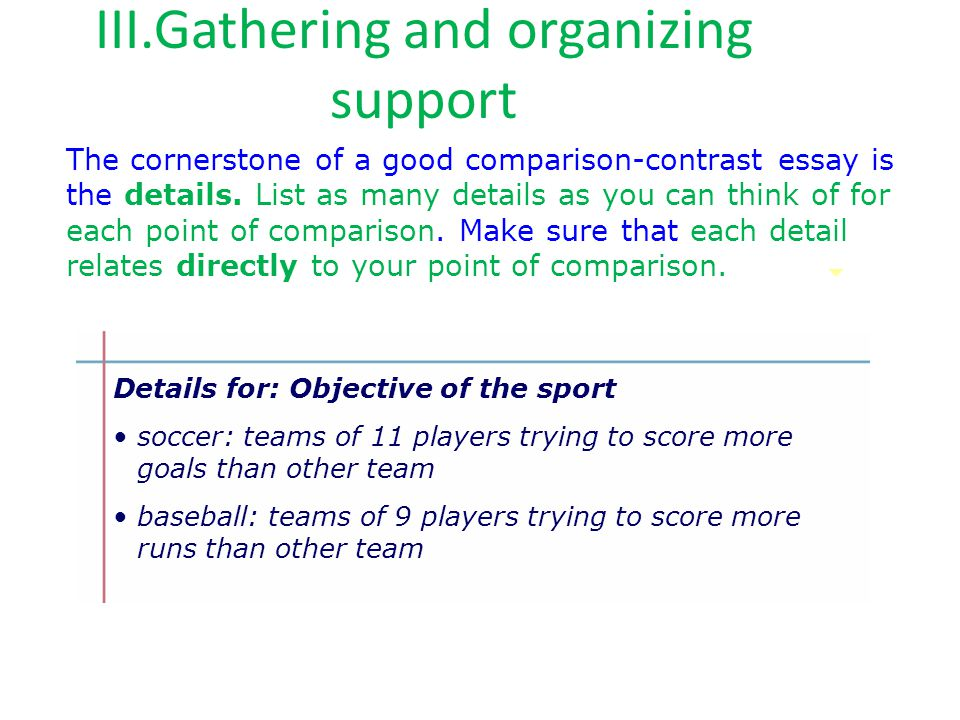 III.Gathering and organizing support The cornerstone of a good comparison-contrast essay is the details. List as many details as you can think of for