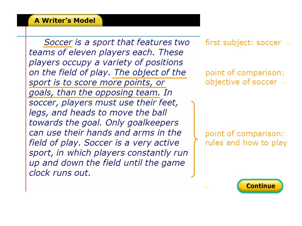 first subject: soccer point of comparison: rules and how to play Soccer is a sport that features two teams of eleven players each.