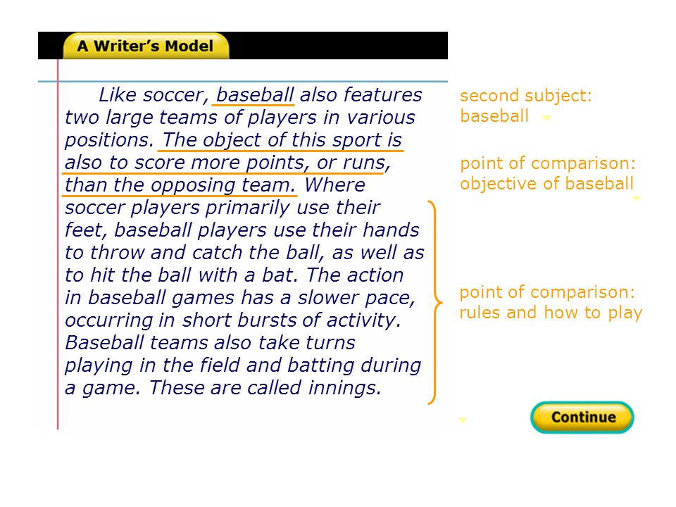 summary of similarities summary of differences Soccer and baseball are both excellent choices if you are seeking a team sport in which you can take part.