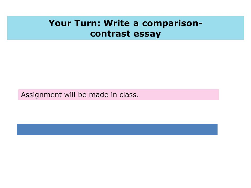Assignment will be made in class. Your Turn: Write a comparison- contrast essay