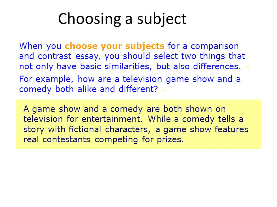 Choosing a subject You must also choose specific subjects that are narrow enough to compare in an essay.