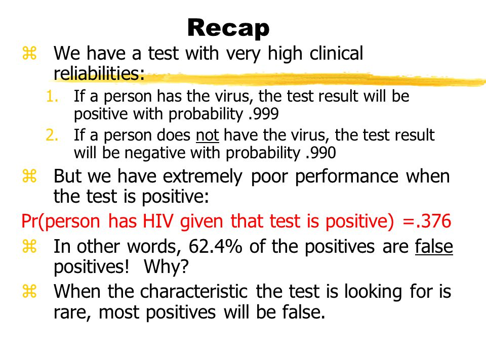 Recap zWe have a test with very high clinical reliabilities: 1.If a person has the virus, the test result will be positive with probability.999 2.If a person does not have the virus, the test result will be negative with probability.990 zBut we have extremely poor performance when the test is positive: Pr(person has HIV given that test is positive) =.376 zIn other words, 62.4% of the positives are false positives.