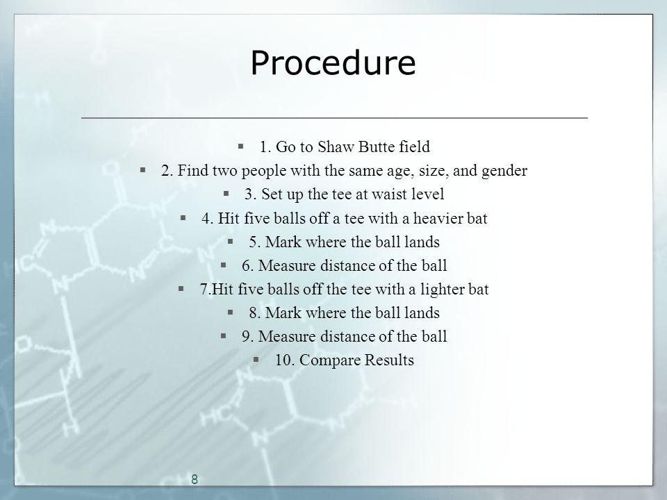 8 Procedure  1. Go to Shaw Butte field  2.