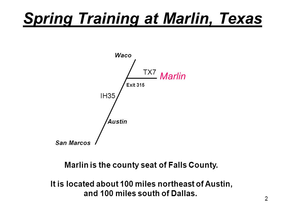2 Spring Training at Marlin, Texas Austin Waco Marlin IH35 TX7 Marlin is the county seat of Falls County.