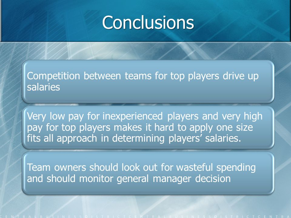 Conclusions Competition between teams for top players drive up salaries Very low pay for inexperienced players and very high pay for top players makes it hard to apply one size fits all approach in determining players' salaries.