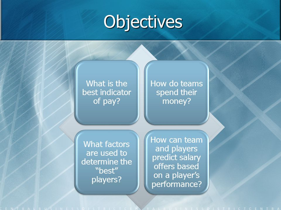 Objectives What is the best indicator of pay. How do teams spend their money.