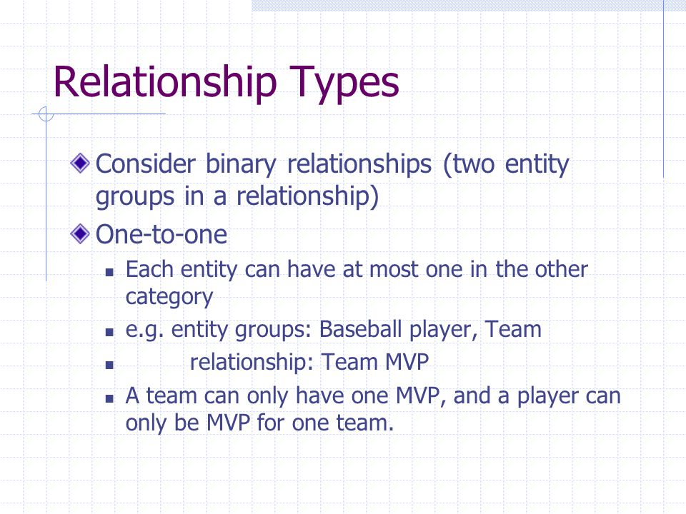 Relationship Types Consider binary relationships (two entity groups in a relationship) One-to-one Each entity can have at most one in the other category e.g.