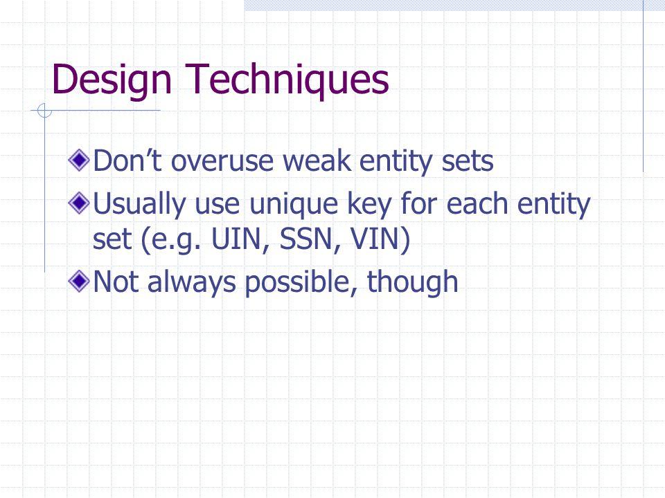 Design Techniques Don't overuse weak entity sets Usually use unique key for each entity set (e.g.