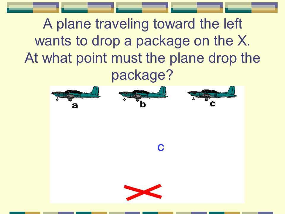 A plane traveling toward the left wants to drop a package on the X.